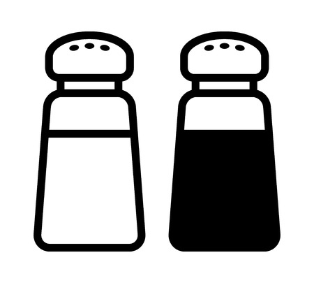 shakers: Salt and pepper condiment shakers line icon for food apps and websites Illustration