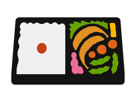 lunch box: Japanese bento lunch box flat color icon for food apps and websites