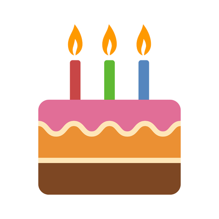 lit candles: Layered colorful birthday cake with candles flat icon for food apps and websites Illustration
