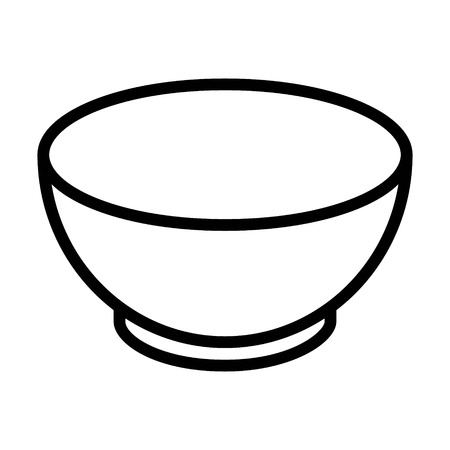 Soup bowl dishware line art icon for food apps and websites Çizim
