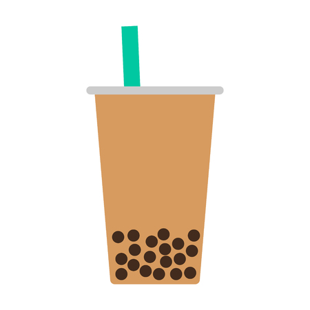 Bubble tea boba  pearl milk tea flat color icon for food apps and websites