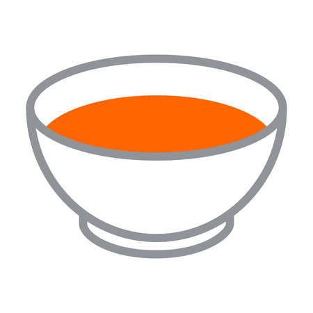 soup bowl: Bowl of tomato soup flat color icon for apps and websites