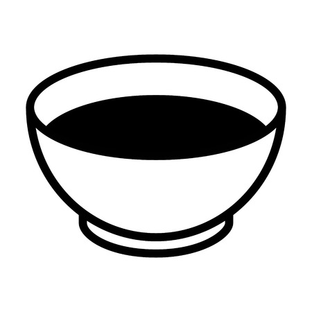 broth: Bowl of soup flat icon for apps and websites Illustration