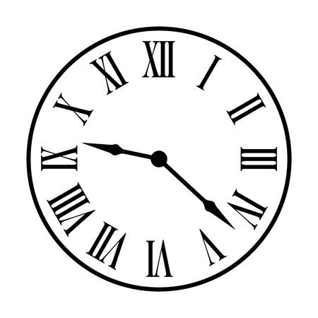 romana: icono del arte línea de la cara del reloj de la vendimia de la manera antigua para aplicaciones y sitios web