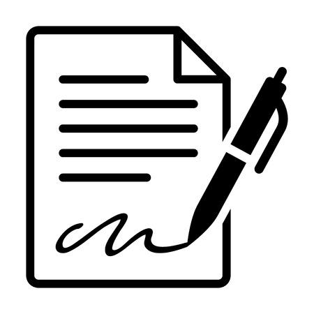 Pen signant une icône de l'art de la ligne de contrat pour les applications d'entreprise et de sites web
