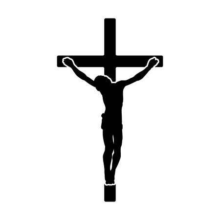 jesus in heaven: Crucifix  crucifixion of Jesus Christ flat icon for religious apps and websites