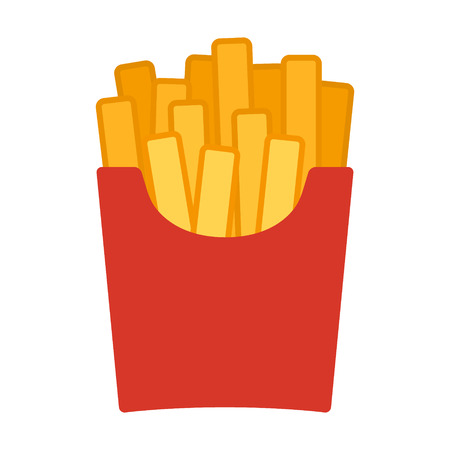 French potato fries flat color icon for food apps and websites Çizim