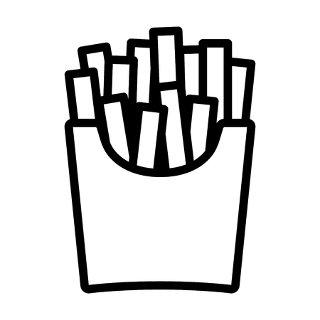 side menu: French potato fries line art icon for food apps and websites
