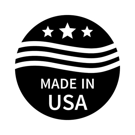 made in: Made in the USA badge, label, seal, sign flat icon for goods and products Illustration