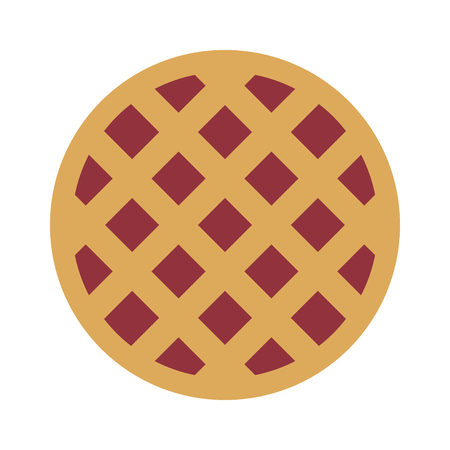 pie: Cherry  berry pie flat color icon for food apps and websites