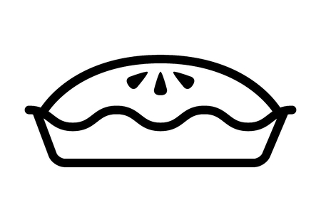 Apple cherry pie line art icon for food apps and websites