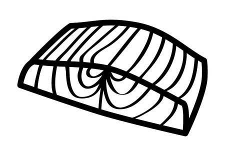 salmon fillet: Salmon steak fish fillet line art icon for food apps and websites Illustration