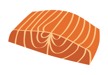 fillet: Salmon steak fish fillet flat color icon for food apps and websites