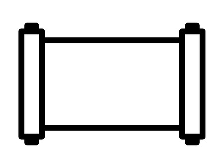 Ancient horizontal scroll line art icon for apps and websites