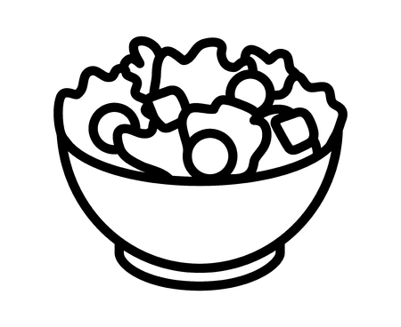 Garden salad with lettuce, tomatoes  bread crumbs line art icon for apps and websites Illustration