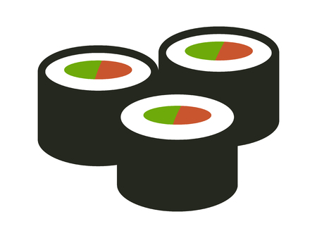 Maki sushi - Japanese food set flat color icon for apps and websites  イラスト・ベクター素材