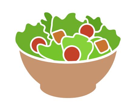 ensalada cesar: Ensalada de la huerta con migas de pan lechuga, tomates icono de color plano para aplicaciones y sitios web