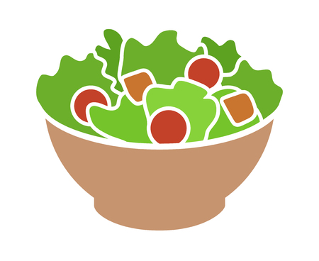 Garden salad with lettuce, tomatoes  bread crumbs flat color icon for apps and websites