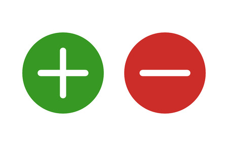negative: Plus and minus or add and subtract flat color icon for apps and websites.