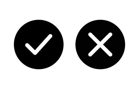 checkmark and x or confirm and deny flat icon for apps and websites. Illustration