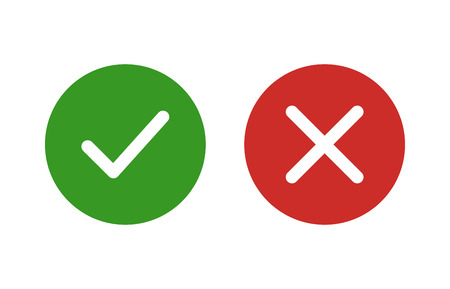 approved sign: checkmark and x or confirm and deny flat color icon for apps and websites. Illustration