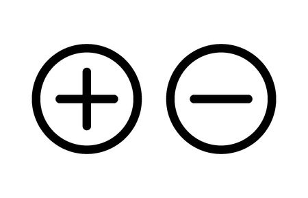 Plus and minus or add and subtract line art icon for apps and websites.