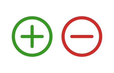 Plus et moins ou additionner et soustraire l'art de la ligne icône de couleur pour les applications et sites web.