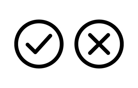 confirm: checkmark and x or confirm and deny line art icon for apps and websites. Illustration