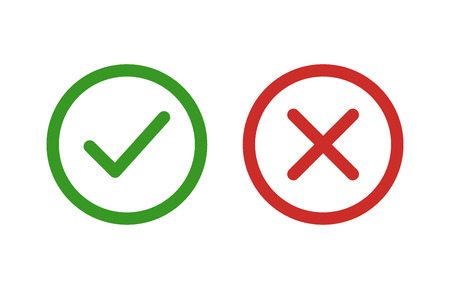 checkmark and x or confirm and deny line art color icon for apps and websites.