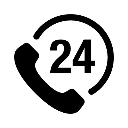 24 hour: 24 hour customer phone service flat icon for apps and websites Illustration