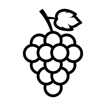 Bunch of grapes with leaf line art icon for food apps and websites Çizim