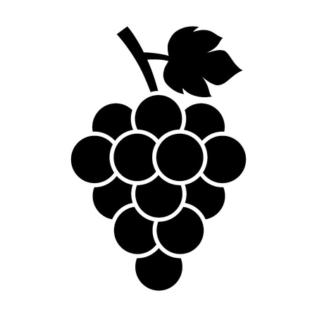 white wine: Bunch of grapes with leaf flat icon for food apps and websites