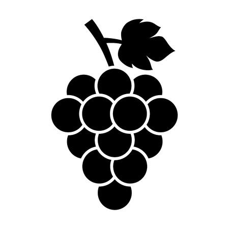 vinho: Cacho de uvas com o ícone plana folha para aplicações alimentares e sites