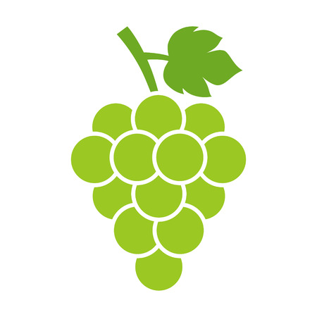 vitis: Bunch of white table grapes with leaf flat color icon for food apps and websites Illustration