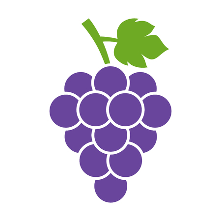 cabernet: Bunch of wine grapes with leaf flat color icon for food apps and websites