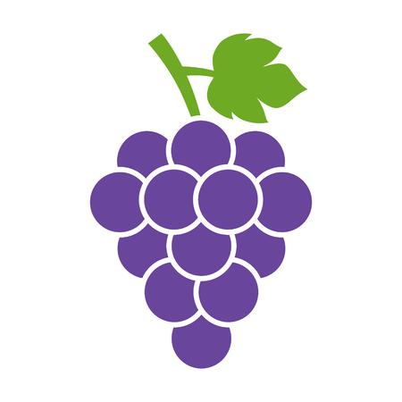 Grappe de raisin de vin à la feuille plate icône de couleur pour les applications alimentaires et de sites web