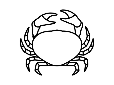 crustacean: Crab or crustacean line art icon for food apps and websites Illustration
