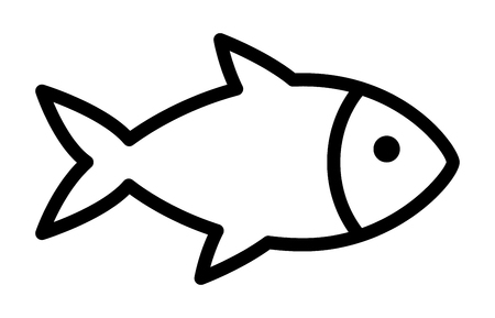Fish or seafood line art icon for food apps and websites Illustration