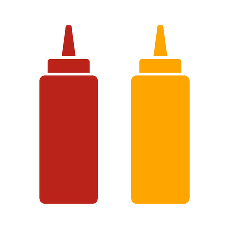 mustard: Ketchup and mustard squeeze bottle flat color icon for food apps and websites