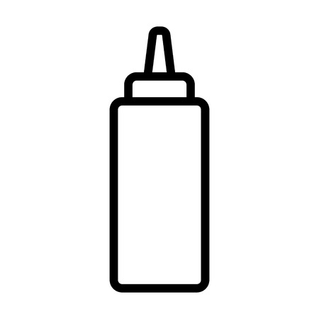 Ketchup or mustard squeeze bottle line art icon for food apps and websites