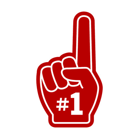 one: Number 1 one fan hand glove with finger raised flat vector icon