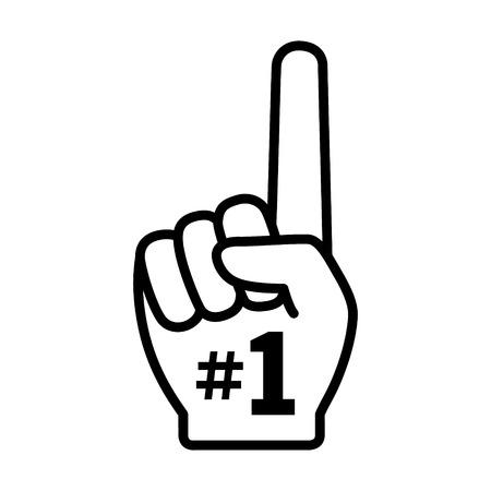 jeden: Number 1 jeden ventilátor ruce s prstem zvýšil plochý vektorové ikony Ilustrace