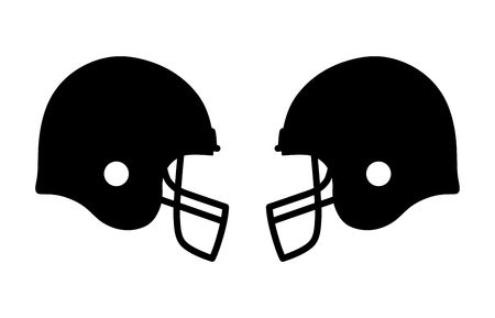 adversary: American gridiron football match with helmets flat icon for apps and sports websites