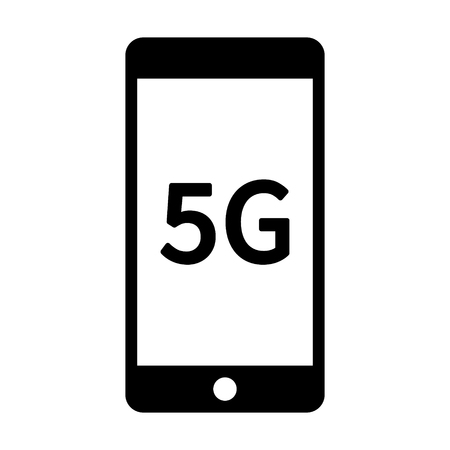 5G 5th generation mobile phone network wireless speed flat icon for apps and websites