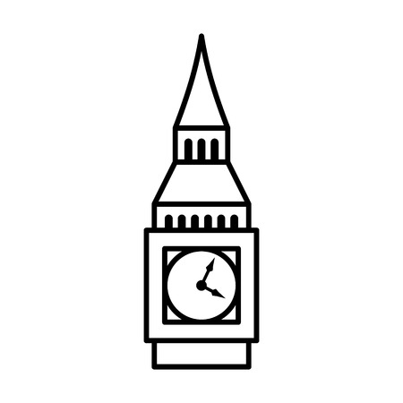 elizabeth tower: Big Ben clock tower  Elizabeth tower in London line art icon for travel apps and websites
