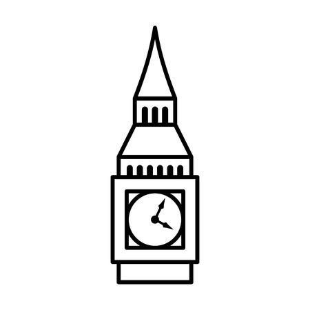 elizabeth tower: Big Ben clock tower  Elizabeth tower in London line art icon for travel apps and websites