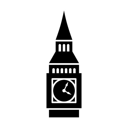 Big Ben clock tower  Elizabeth tower in London flat icon for travel apps and websites Çizim