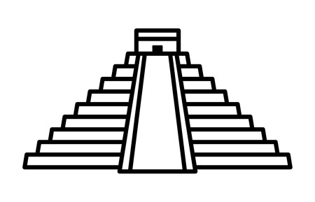 ruins: El Castillo pyramid in Chichen Itza line art icon for apps and websites