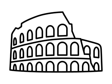 Colosseum  Coliseum in Rome, Italy line art icon for travel apps and websites