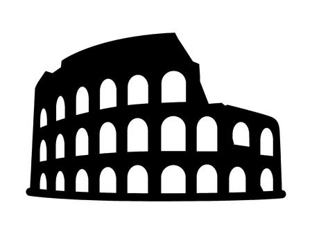 iconic architecture: Colosseum  Coliseum in Rome, Italy flat icon for travel apps and websites